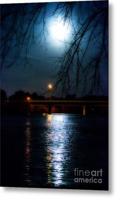 Moon Set Lake Pleasurehouse Metal Print