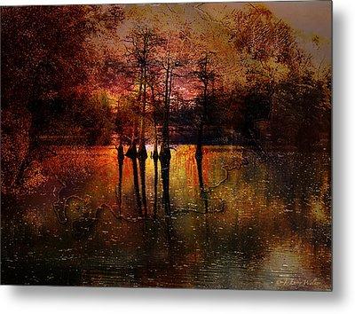 Moon Setting Over Reelfoot Lake Metal Print by J Larry Walker