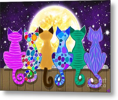 Moon Shadow Meow Metal Print