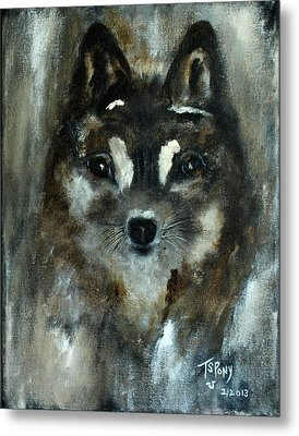 Metal Print featuring the painting Moon Shadow The Baby Fox by Barbie Batson