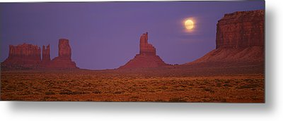 Moon Shining Over Rock Formations Metal Print