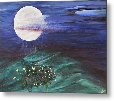 Metal Print featuring the painting Moon Showers by Cheryl Bailey