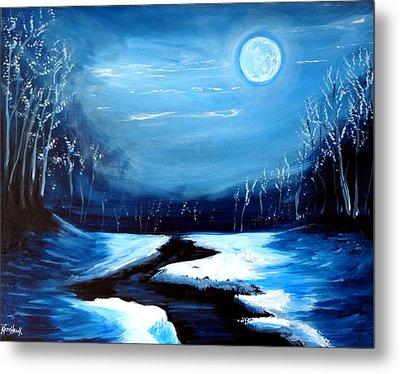 Moon Snow Trees River Winter Metal Print