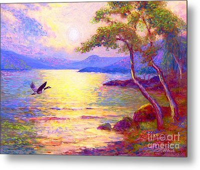 Wild Goose, Moon Song Metal Print by Jane Small