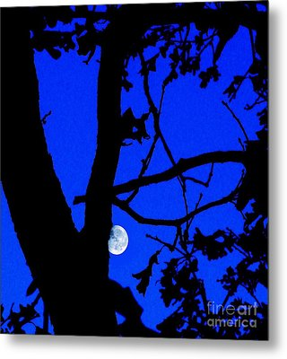 Metal Print featuring the photograph Moon Through Trees 2 by Janette Boyd