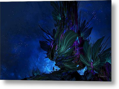 Moon Tree Hills Metal Print by Cassiopeia Art