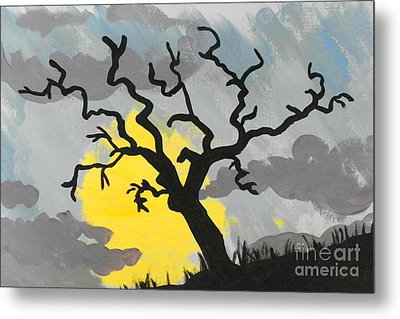 Metal Print featuring the painting Moon Tree by Marisela Mungia