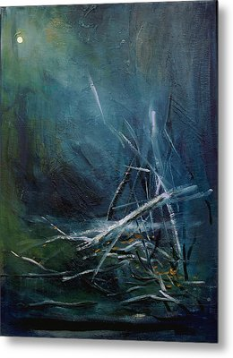 Moon When Limbs Of Trees Are Broken By Snow  January Metal Print by Ethel Vrana