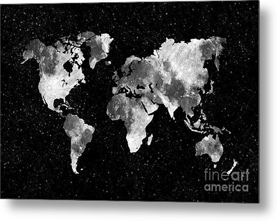 Moon World Map Metal Print by Delphimages Photo Creations