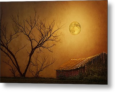 Moonglow Over Polenz Ranch Metal Print by Nikolyn McDonald