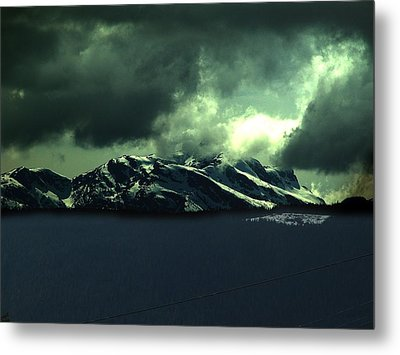 Moonlight And Mountains Metal Print by Janet Ashworth