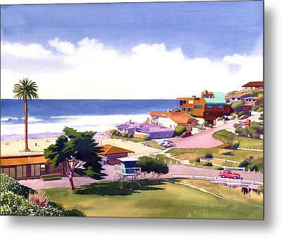Moonlight Beach And Cypress Metal Print by Mary Helmreich