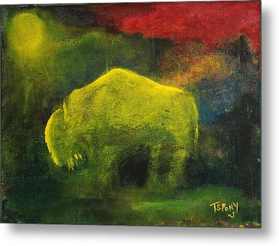 Metal Print featuring the painting Moonlight Buffalo by Barbie Batson