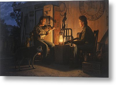 Moonlight Musicians Metal Print by Ron Crabb