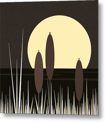 Moonlight On Loon Lake Metal Print