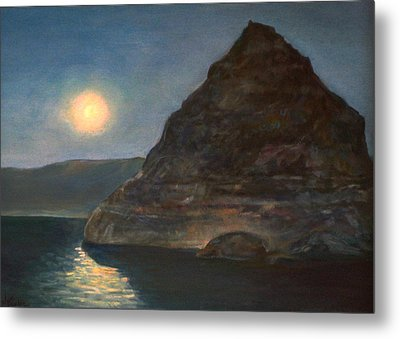 Metal Print featuring the painting Moonlight On Pyramid Lake by Donna Tucker