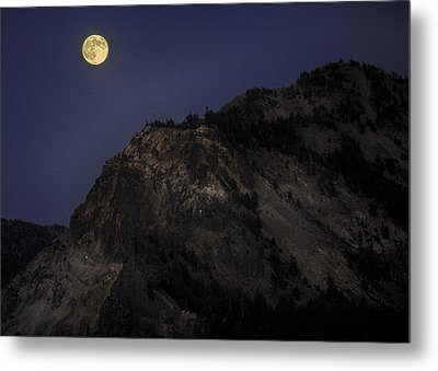 Metal Print featuring the photograph Moonlight On The Crater Rim by Gary Neiss