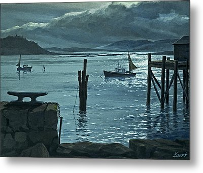 Moonlight On The Harbor Metal Print by Paul Krapf