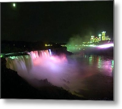Moonlight Over A Luminous Niagara Falls N.y. Metal Print by Danielle  Parent