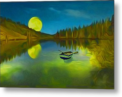 Moonlight Over Lake With Row Boat. Metal Print by Carlos Villegas
