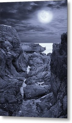 Metal Print featuring the photograph Moonlight Over Rugged Seaside Rocks by Jane McIlroy