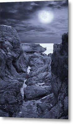 Moonlight Over Rugged Seaside Rocks Metal Print by Jane McIlroy