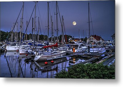 Moonlight Over Yacht Marina In Leba In Poland Metal Print