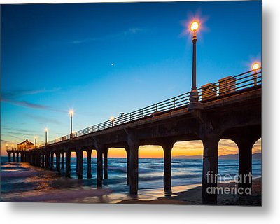 Moonlight Pier Metal Print