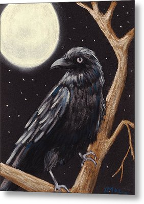 Moonlight Raven Metal Print