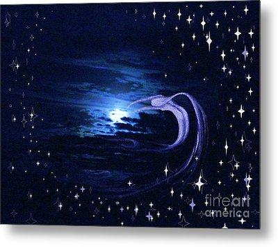 Moonlight Swim Metal Print