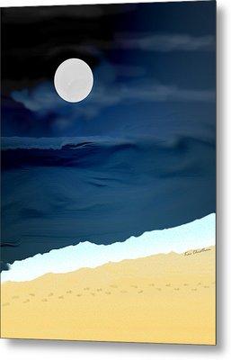 Moonlight Walk At Low Tide Metal Print by Kae Cheatham