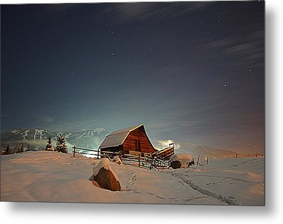 Moonlit Barn Metal Print by Matt Helm