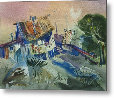 Moonlit Beach Shack Metal Print