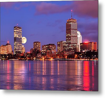 Metal Print featuring the photograph Moonlit Boston On The Charles by Mitchell R Grosky