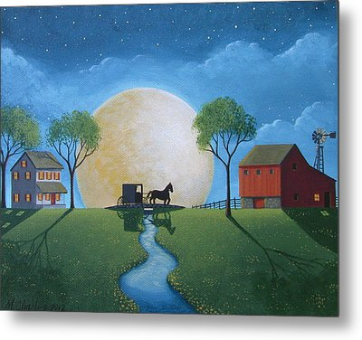 Moonlit Buggy Ride Metal Print by Mary Charles