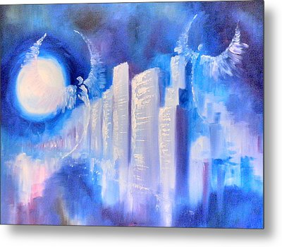 Moonlit City Blue Metal Print