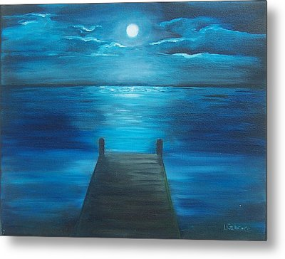 Moonlit Dock Metal Print by Linda Cabrera