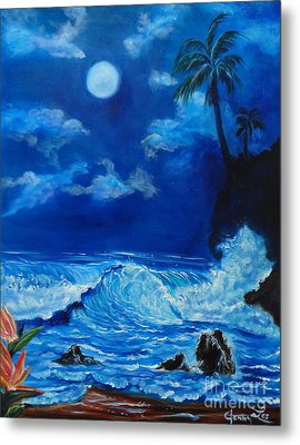 Moonlit Hawaiian Night Metal Print by Jenny Lee