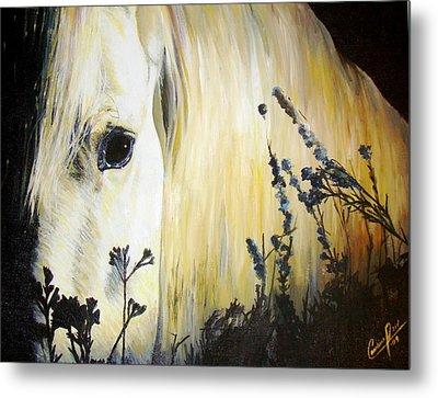 Moonlit Horse Metal Print by Caroline  Reid