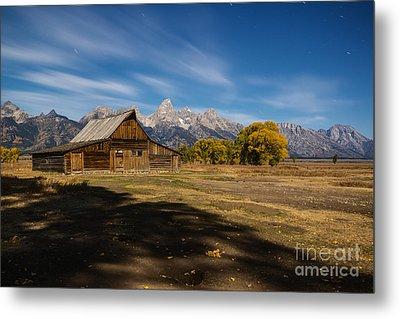 Moonlit Mormon Barn At Grand Teton Np Metal Print by Vishwanath Bhat
