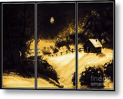 Moonlit Night Triptych Metal Print by Barbara Griffin
