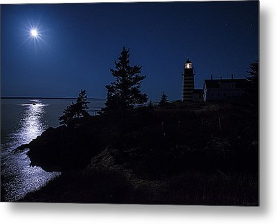 Moonlit Panorama West Quoddy Head Lighthouse Metal Print