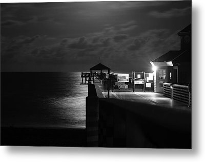 Moonlit Pier Black And White Metal Print by Laura Fasulo