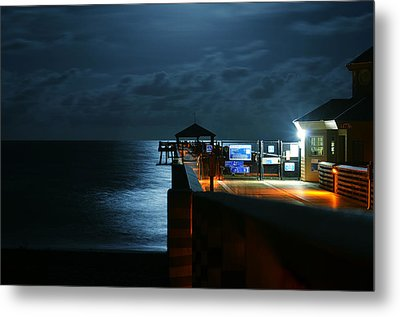 Moonlit Pier Metal Print