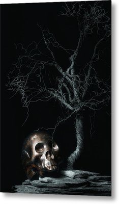 Moonlit Skull And Tree Still Life Metal Print