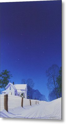 Moonlit Snowfall Metal Print