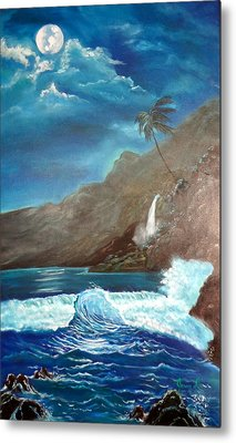 Metal Print featuring the painting Moonlit Wave by Jenny Lee