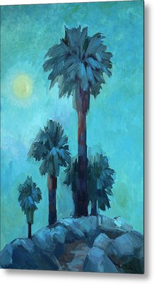 Moonrise And Palms Metal Print by Diane McClary