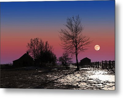 Metal Print featuring the photograph Moonrise At Sunset by Larry Landolfi