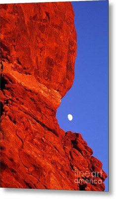 Metal Print featuring the photograph Moonrise Balanced Rock Arches National Park Utah by Dave Welling
